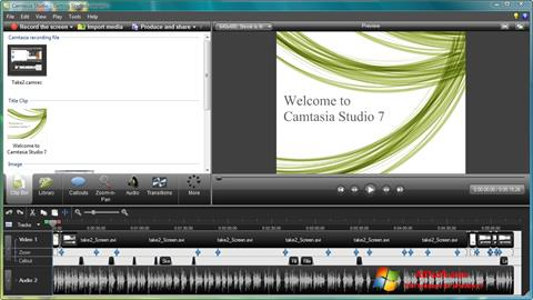 Ekrano kopija Camtasia Studio Windows 7