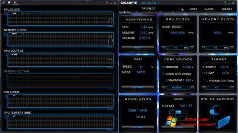 Ekrano kopija GIGABYTE OC Guru Windows 7
