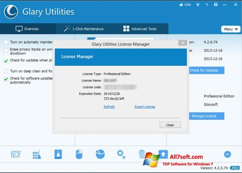 Ekrano kopija Glary Utilities Windows 7