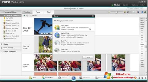 Ekrano kopija Nero MediaHome Windows 7