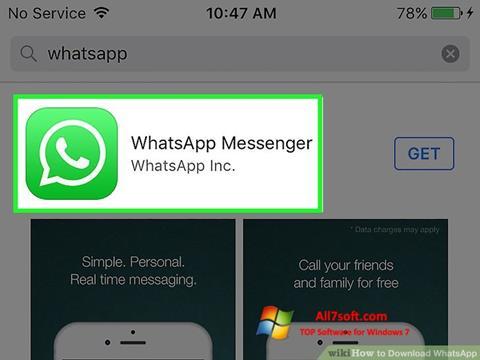 Ekrano kopija WhatsApp Windows 7