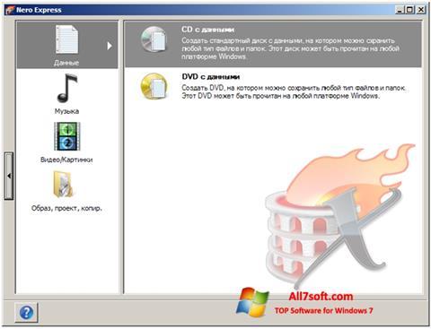Ekrano kopija Nero Express Windows 7