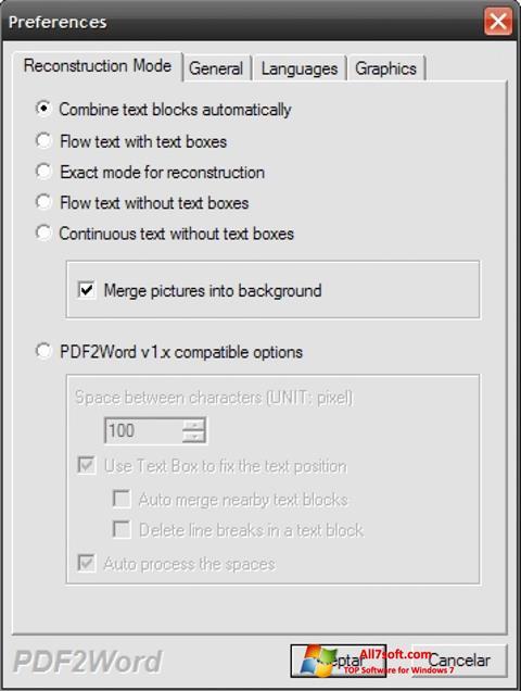 Ekrano kopija PDF2Word Windows 7