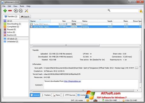 Ekrano kopija qBittorrent Windows 7