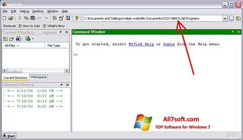 Ekrano kopija MATLAB Windows 7