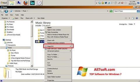 Ekrano kopija MagicISO Windows 7