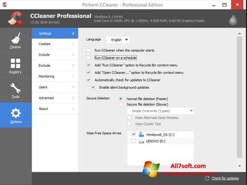 Ekrano kopija CCleaner Windows 7