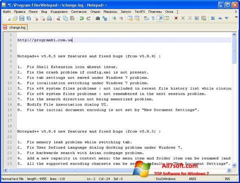 Ekrano kopija Notepad++ Windows 7