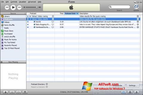Ekrano kopija iTunes Windows 7