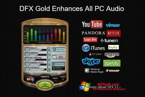 Ekrano kopija DFX Audio Enhancer Windows 7