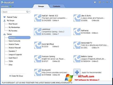 Ekrano kopija RaidCall Windows 7