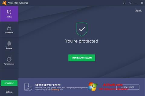 Ekrano kopija Avast Free Antivirus Windows 7