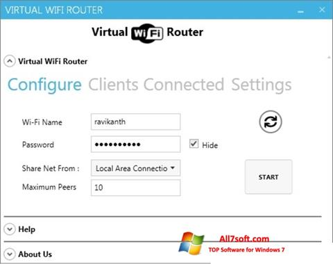 Ekrano kopija Virtual WiFi Router Windows 7