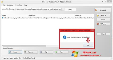 Ekrano kopija Free File Unlocker Windows 7