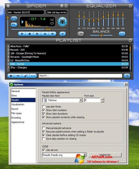 Ekrano kopija Spider Player Windows 7