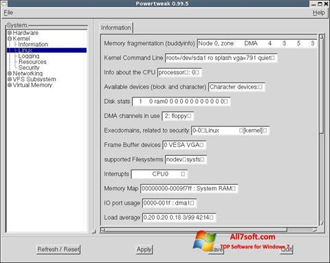 Ekrano kopija PowerTweak Windows 7
