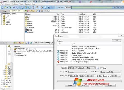 Ekrano kopija UltraISO Windows 7