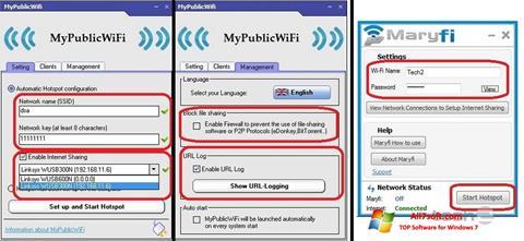 Ekrano kopija MaryFi Windows 7