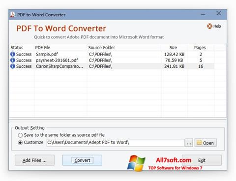 Ekrano kopija PDF to Word Converter Windows 7