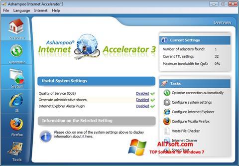 Ekrano kopija Ashampoo Internet Accelerator Windows 7