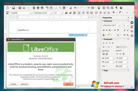 Ekrano kopija LibreOffice Windows 7