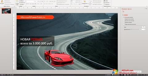 Ekrano kopija Microsoft PowerPoint Windows 7