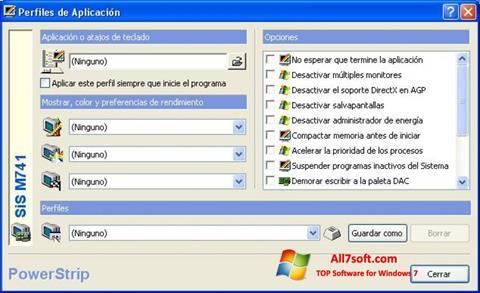 Ekrano kopija PowerStrip Windows 7