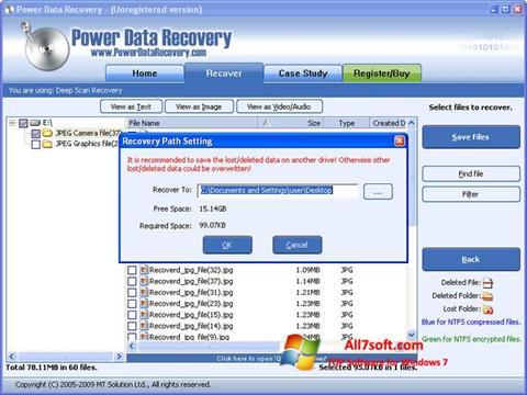 Ekrano kopija Power Data Recovery Windows 7