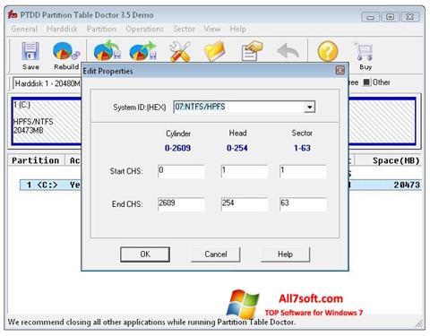 Ekrano kopija Partition Table Doctor Windows 7