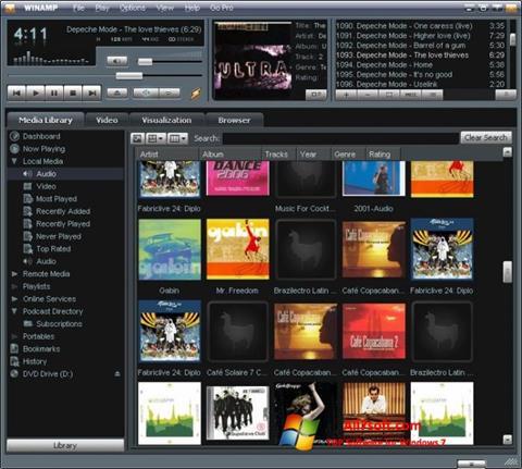 Ekrano kopija Winamp Windows 7