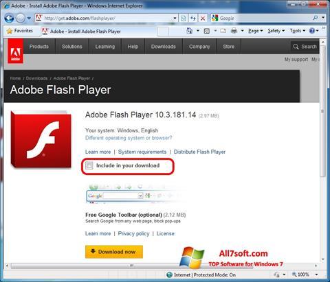 Ekrano kopija Adobe Flash Player Windows 7