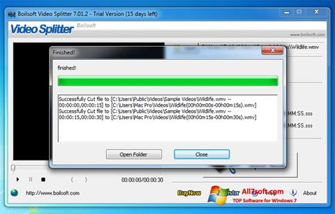 Ekrano kopija Boilsoft Video Splitter Windows 7