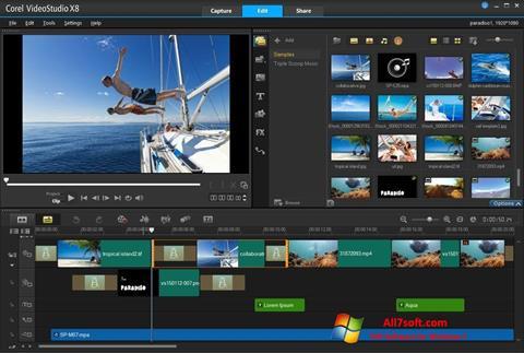 Ekrano kopija Corel VideoStudio Windows 7