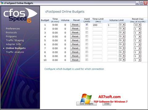 Ekrano kopija cFosSpeed Windows 7