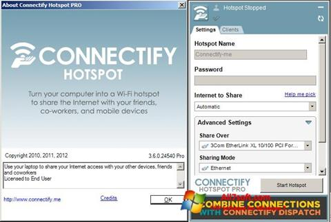 Ekrano kopija Connectify Windows 7