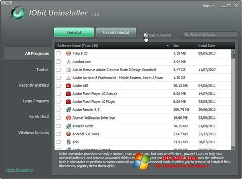 Ekrano kopija IObit Uninstaller Windows 7