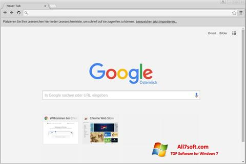 Ekrano kopija Google Chrome Windows 7