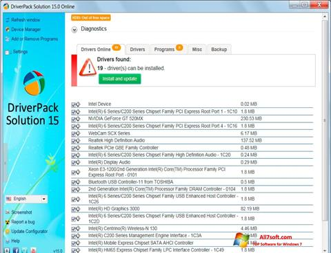 Ekrano kopija DriverPack Solution Windows 7