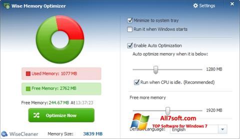 Ekrano kopija Wise Memory Optimizer Windows 7
