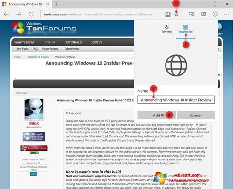 Ekrano kopija Microsoft Edge Windows 7