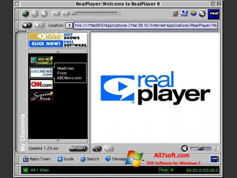 Ekrano kopija RealPlayer Windows 7