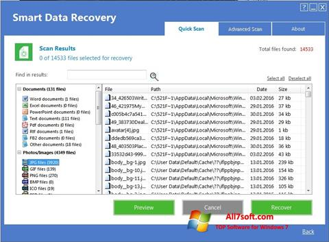 Ekrano kopija Smart Data Recovery Windows 7