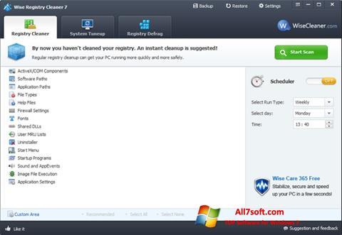 Ekrano kopija Wise Registry Cleaner Windows 7