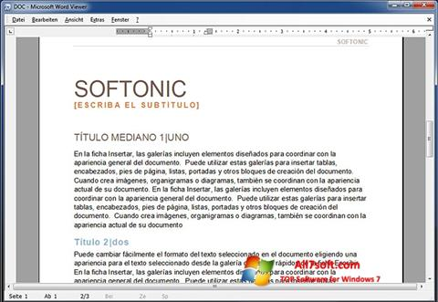 Ekrano kopija Word Viewer Windows 7