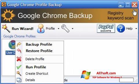 Ekrano kopija Google Chrome Backup Windows 7
