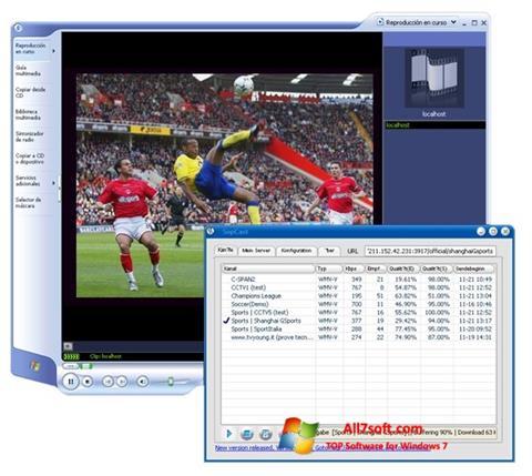 Ekrano kopija SopCast Windows 7