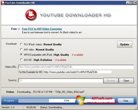 Ekrano kopija Youtube Downloader HD Windows 7