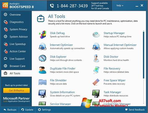 Ekrano kopija Auslogics BoostSpeed Windows 7