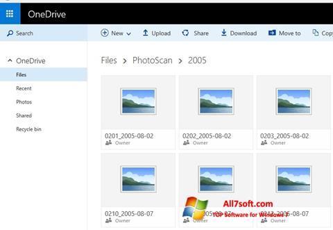 Ekrano kopija OneDrive Windows 7