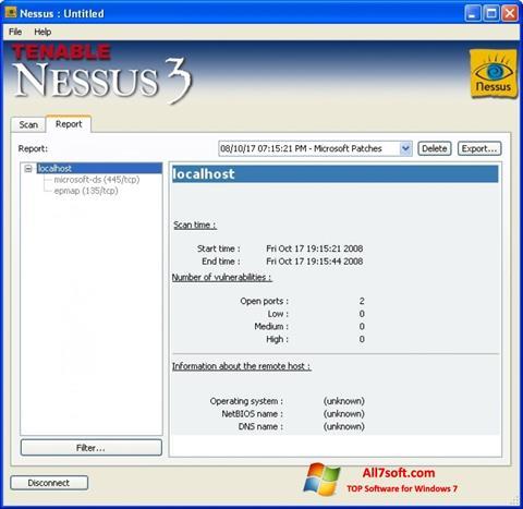 Ekrano kopija Nessus Windows 7